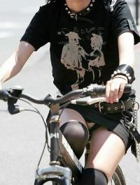 自転車パンちらエロ画像65枚!チャリに乗ったJKやOLたちの股間を盗撮!のサムネイル画像