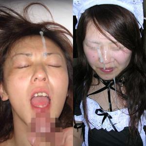 彼氏に顔射されて嬉しそうな表情してる彼女の顔に精子を掛けた写メのサムネイル画像
